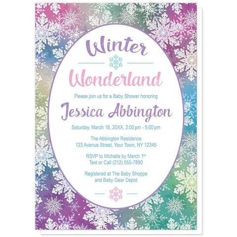 Rainbow Snowflake Winter Wonderland Baby Shower Invitations at Artistically Invited