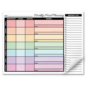 "Rainbow Weekly Meal Planner with Grocery List - 8.5"" x 11"" Notepad"