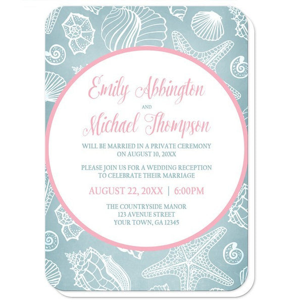 Blue Seashell Pink Beach Reception Only Invitations - Artistically Invited