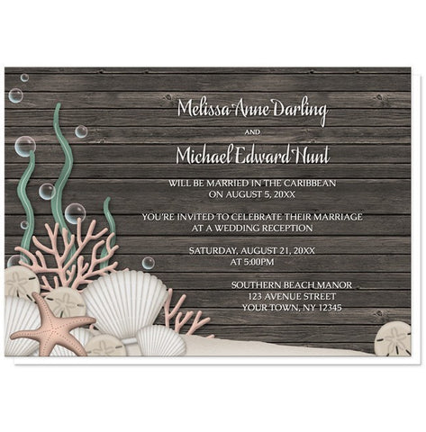 Rustic Beach Seashells and Wood Reception Only Invitations - Artistically Invited