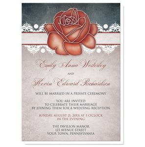 Rustic Country Rose Blue Reception Only Invitations - Artistically Invited