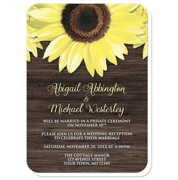 Rustic Sunflower and Wood Reception Only Invitations - Artistically Invited