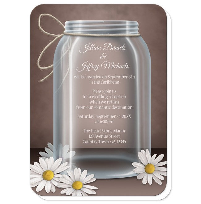 Vintage Rustic Mason Jar Daisy Reception Only Invitations at  Artistically Invited