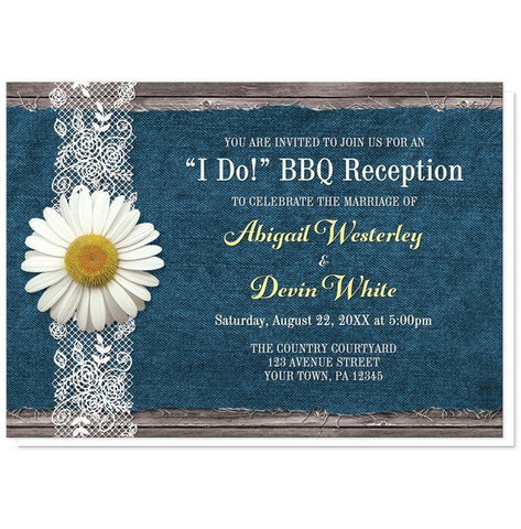 Daisy Denim and Lace I Do BBQ Reception Only Invitations - Artistically Invited