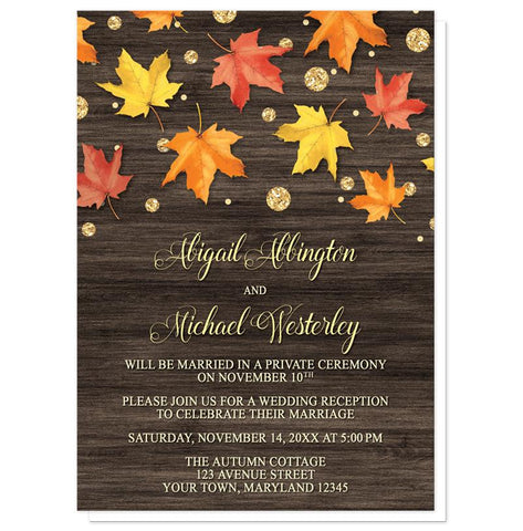Falling Leaves with Gold Autumn Reception Only Invitations - Artistically Invited