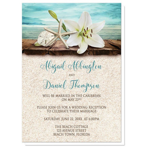 Lily Seashells Sand Beach Reception Only Invitations - Artistically Invited