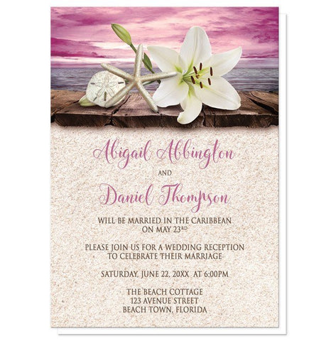 Reception Only Invitations - Lily Seashells Sand Magenta Beach