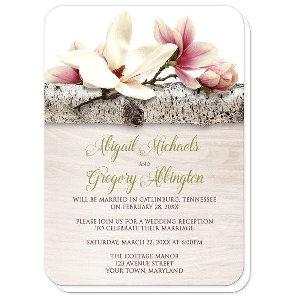 Magnolia Birch Light Wood Floral Reception Only Invitations - Artistically Invited
