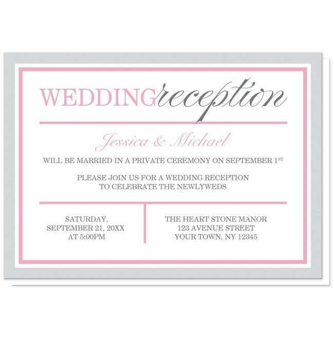 Modern Gray and Pink Reception Only Invitations at  Artistically Invited