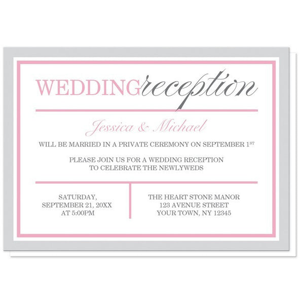 Modern Gray and Pink Reception Only Invitations - Artistically Invited