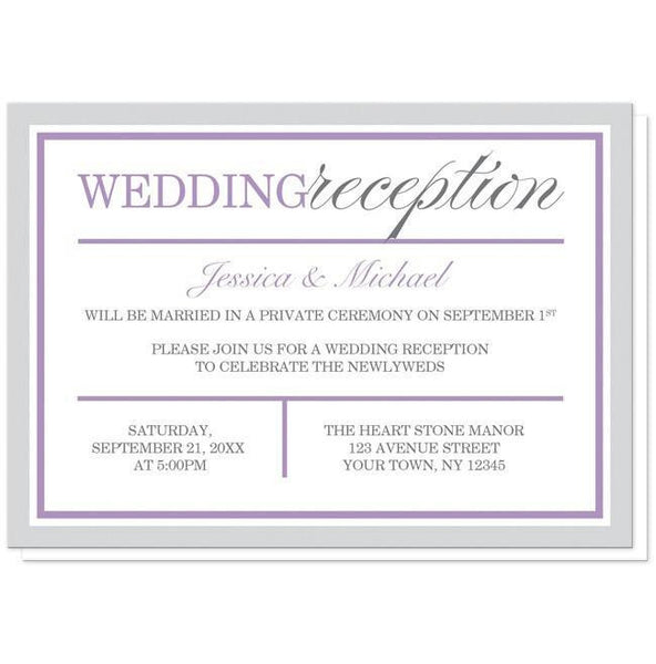 Modern Gray and Purple Reception Only Invitations - Artistically Invited