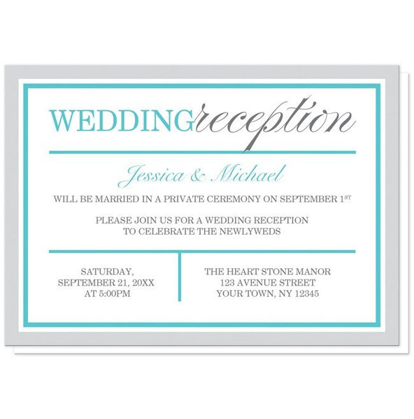 Modern Gray and Turquoise Reception Only Invitations - Artistically Invited