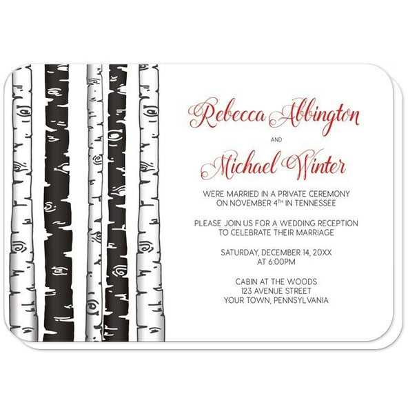 Monochrome Birch Tree with Red Reception Only Invitations - Artistically Invited