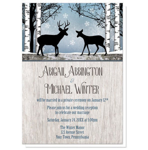 Rustic Blue Winter Deer Reception Only Invitations - Artistically Invited