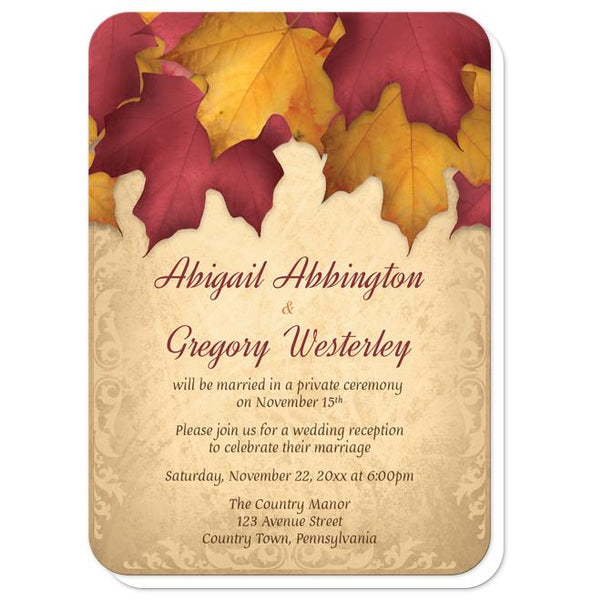 Rustic Burgundy Gold Autumn Reception Only Invitations - rounded corners