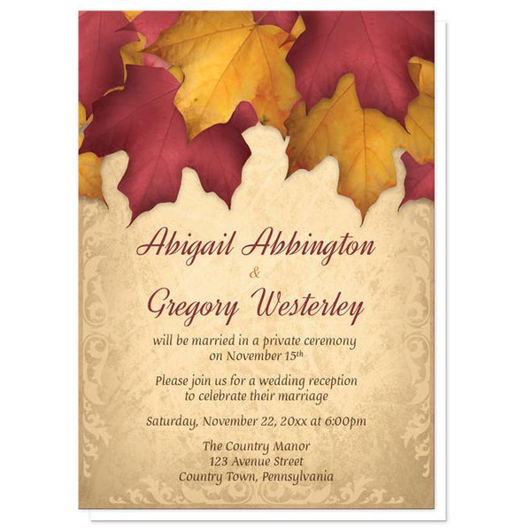 Rustic Burgundy Gold Autumn Reception Only Invitations at Artistically Invited