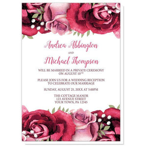 Reception Only Invitations - Rustic Burgundy Pink Rose White