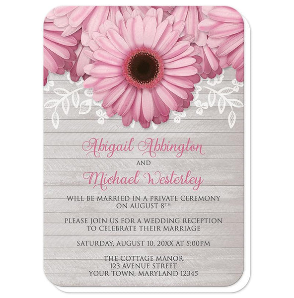 Rustic Pink Daisy Gray Wood Reception Only Invitations