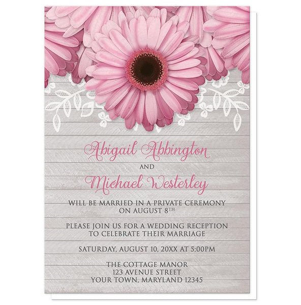 Rustic Pink Daisy Gray Wood Reception Only Invitations at Artistically Invited
