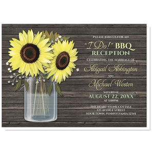"Reception Only Invitations - ""I Do!"" BBQ Rustic Sunflower Wood Mason Jar"