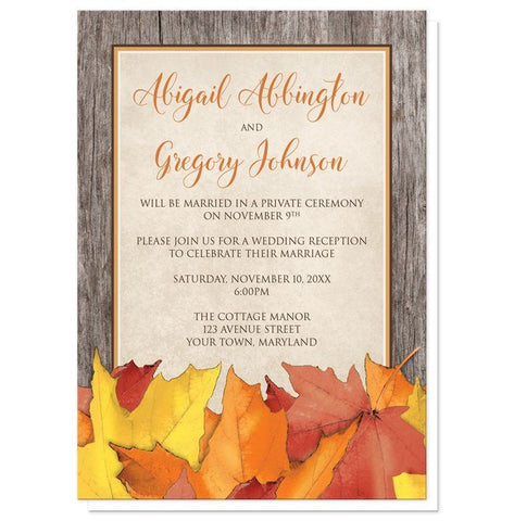 Rustic Wood and Leaves Fall Reception Only Invitations - Artistically Invited