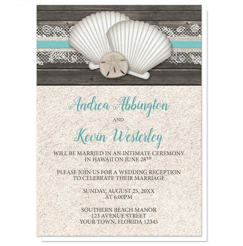 Seashell Lace Wood and Sand Beach Reception Only Invitations - Artistically Invited