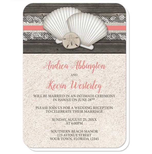 Seashell Lace Wood and Sand Coral Beach Reception Only Invitations - rounded corners