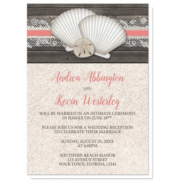 Seashell Lace Wood and Sand Coral Beach Reception Only Invitations