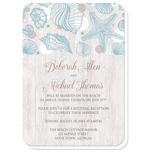 Seashell Whitewashed Wood Beach Reception Only Invitations - rounded corners