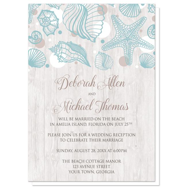 Seashell Whitewashed Wood Beach Reception Only Invitations