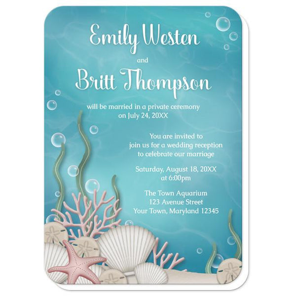 Whimsical Under the Sea Reception Only Invitations - rounded corners