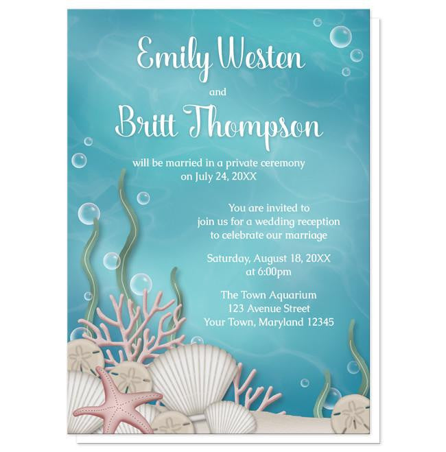 Whimsical Under the Sea Reception Only Invitations