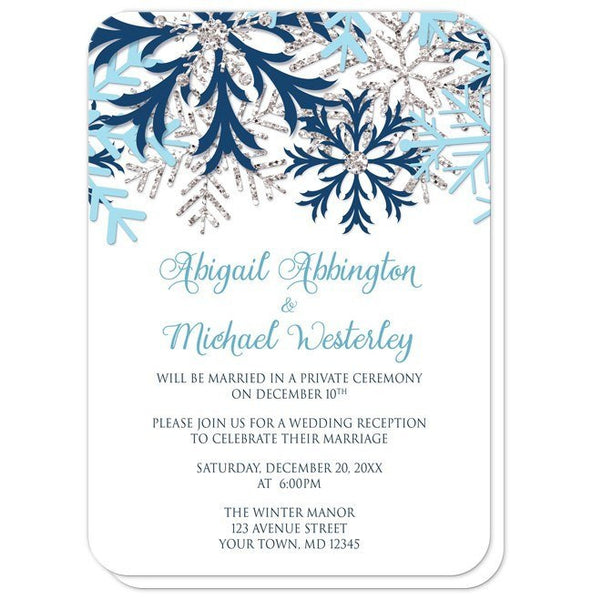 Winter Blue Silver Snowflake Reception Only Invitations - rounded corners