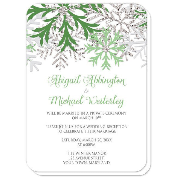 Reception Only Invitations - Winter Snowflake Green Silver - rounded corners