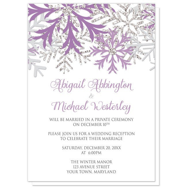 Winter Snowflake Purple Silver Reception Only Invitations - Artistically Invited