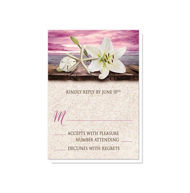 Lily Seashells Sand Magenta Beach Reception Only Invitations at  Artistically Invited