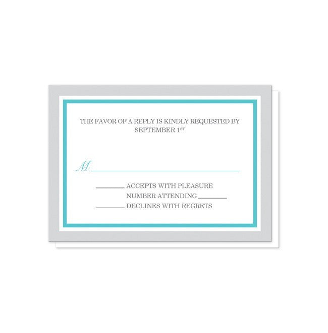 Modern Gray and Turquoise Reception Only Invitations at  Artistically Invited