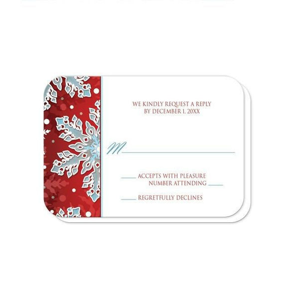 Reception RSVP - Modern Red White Blue Snowflake - rounded corners