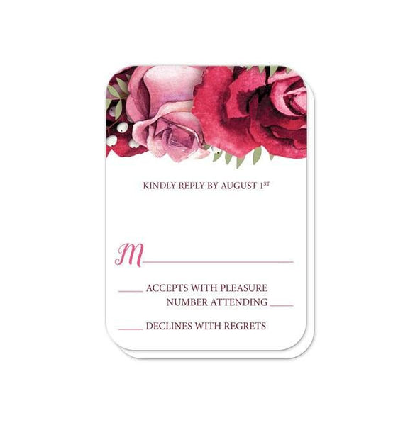 Reception RSVP - Rustic Burgundy Pink Rose White - rounded corners