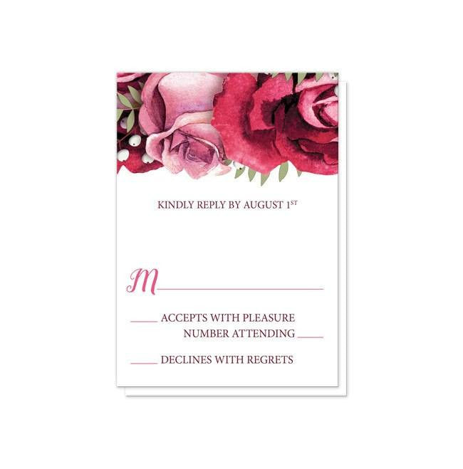 Rustic Burgundy Pink Rose White Reception Only Invitations at  Artistically Invited