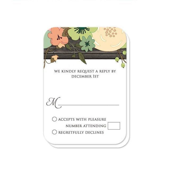 Rustic Orange Teal Floral Wood Reception Only Invitations - Artistically Invited
