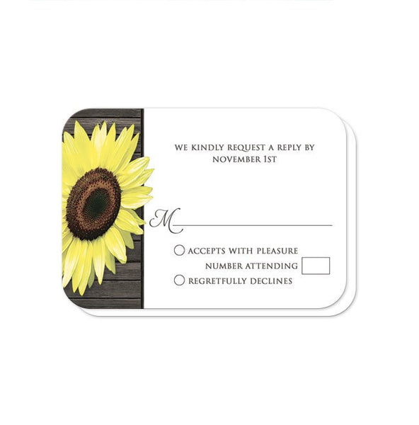 Reception RSVP - I Do BBQ Rustic Sunflower Wood Mason Jar - rounded corners