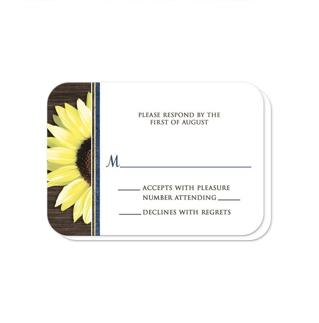 Rustic Sunflower with Blue Reception Only Invitations at  Artistically Invited