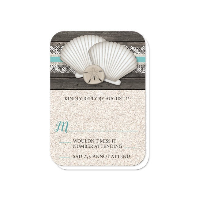 Seashell Lace Wood and Sand Beach Reception Only Invitations at  Artistically Invited
