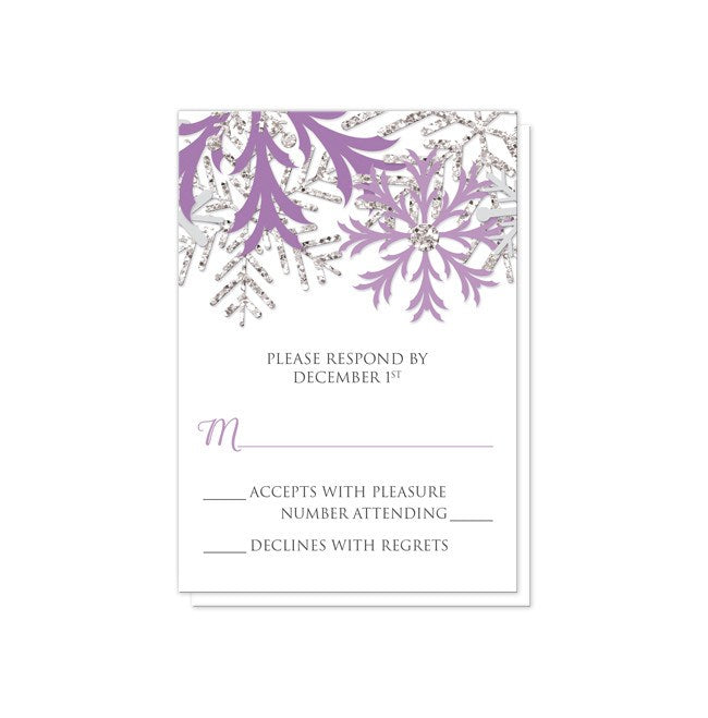 Winter Snowflake Purple Silver Reception Only Invitations at  Artistically Invited