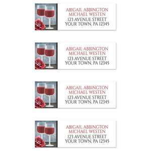 Red Wine Glasses Floral Rose Address Labels at Artistically Invited