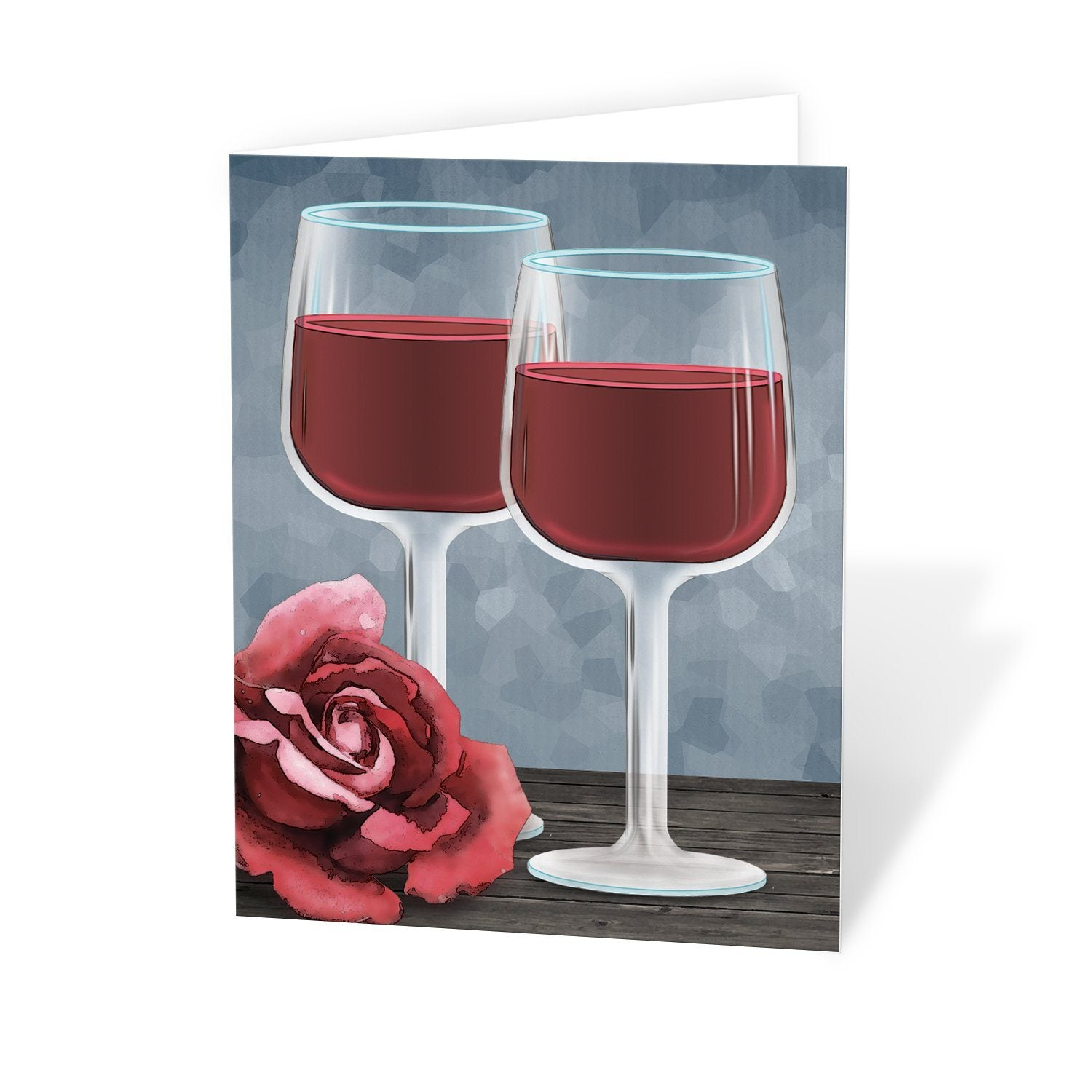 Red Wine Glasses Floral Rose Note Cards at Artistically Invited