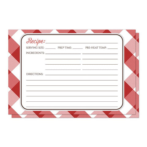 Red Gingham Recipe Cards at Artistically Invited