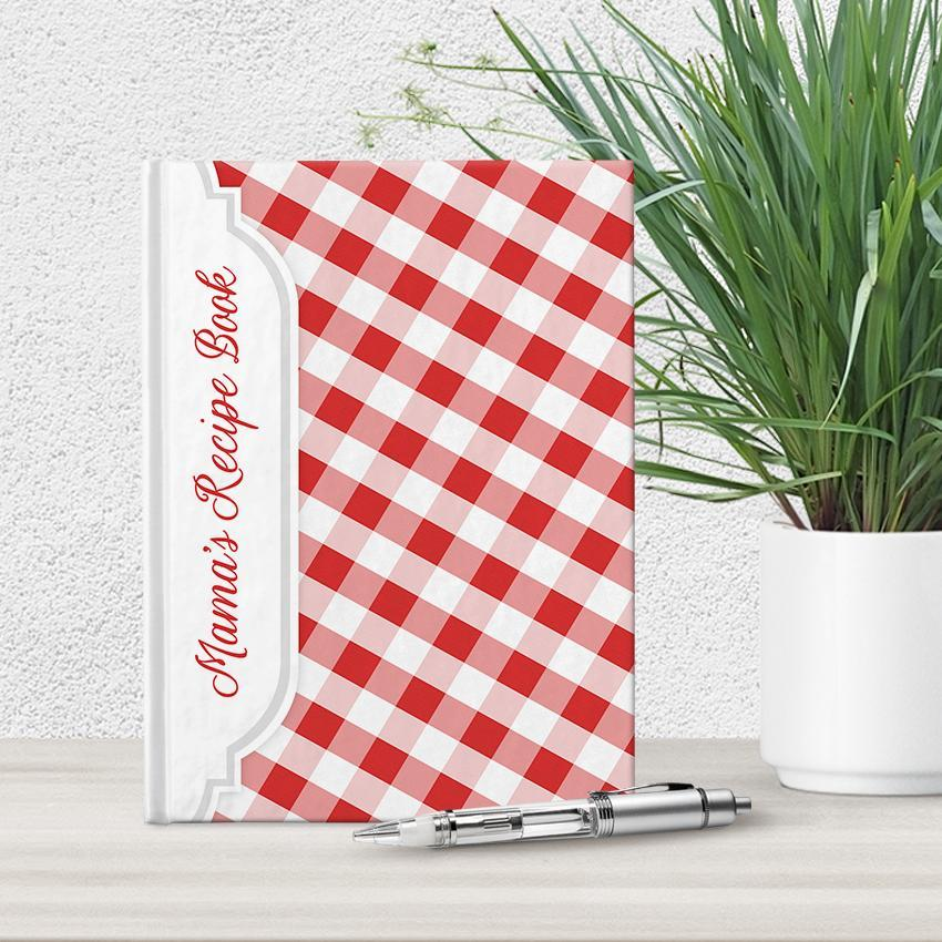 Personalized Red Gingham Recipe Book at Artistically Invited