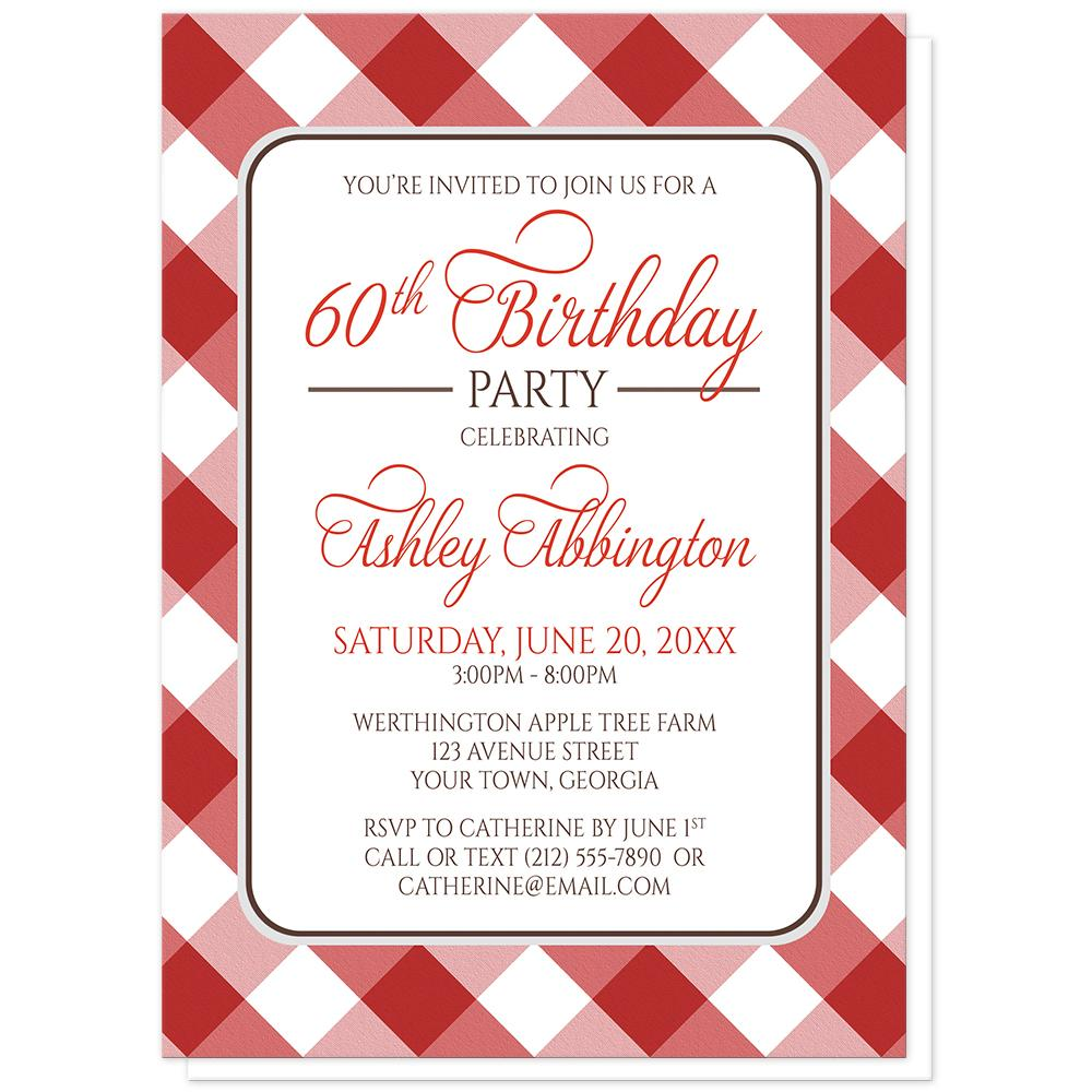 Red Gingham Birthday Party Invitations at Artistically Invited